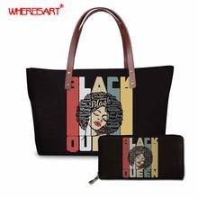 WHEREISART Women Messenger Bag Large Summer Beach Tote High Qualtiy Black Queen African Handbag For Girls Shoulder Bags 2019