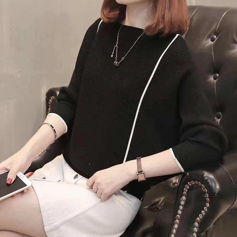Frauen Lose Gestrickte Pullover Pullover Schwarz Mode Pull Damen Pullover Tops Strickwaren 2019 Herbst Pullover Luxus Weibliche Pull