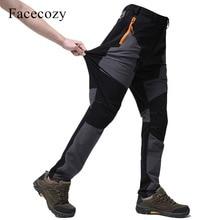 Facecozy для Для мужчин на открытом воздухе быстросохнущая рыболовные штаны в стиле пэчворк восхождение ветрозащитный Пеший Туризм Восхождение брюки Кемпинг походы брюки
