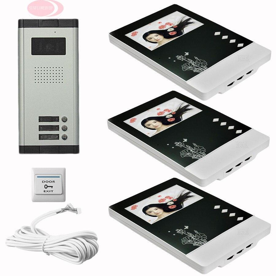 Видеодомофон для квартиры, 3 кнопки, цветной экран, видеодомофон, ИК, ночной дверной звонок, камера, комплект товаров для домашней безопаснос