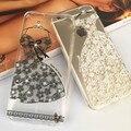 Glitter bling case para iphone 6 6 s com strass cristal luxo TPU Macio Capa para IPhone6 6 s com Rendas Vestidos De Casamento Imagens