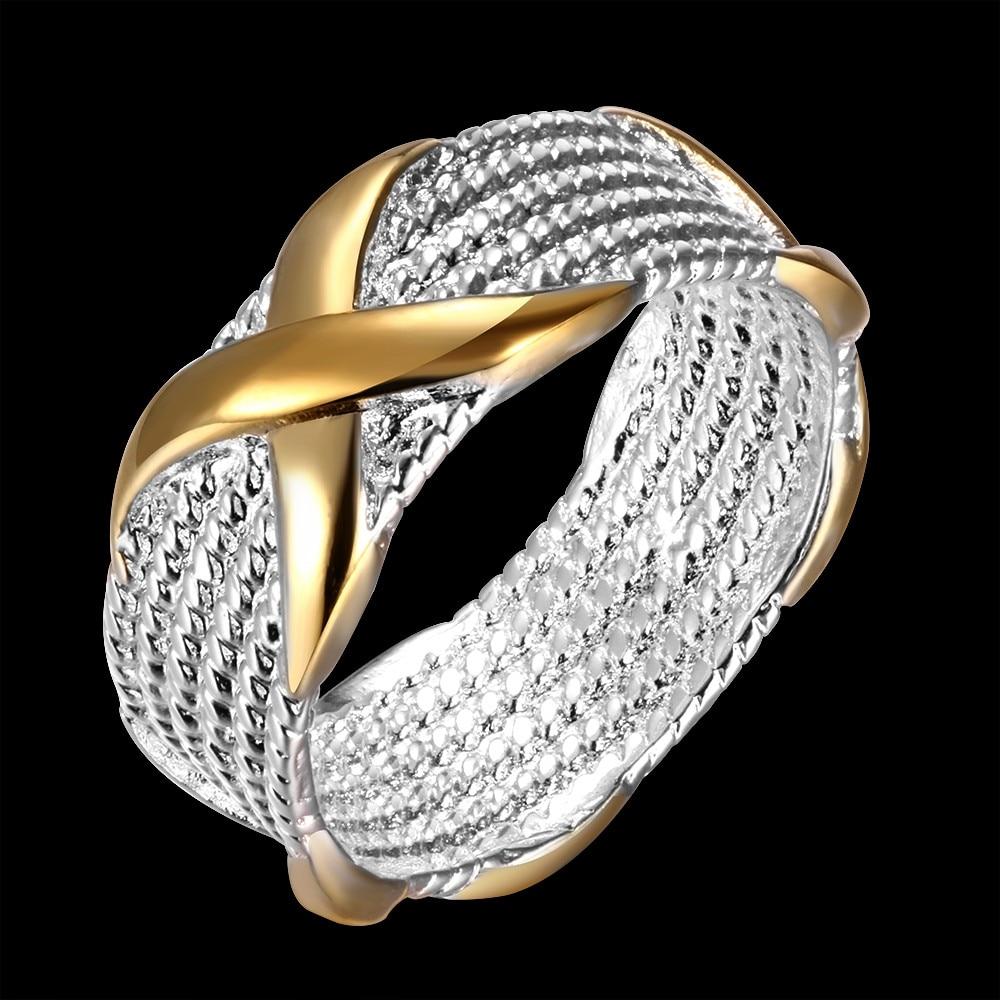 Toptan Fiyat Gümüş Kaplama erkek Yüzük Altın Renk Ile X çapraz - Kostüm mücevherat - Fotoğraf 2