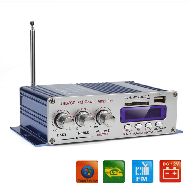 Special Offers HY-400 12V Car Digital Display Power Amplifier Support USB / SD Card Input with Remote  Control