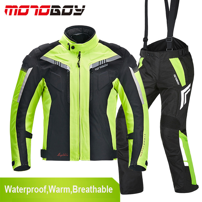 New MOTOBOY Men Winter Waterproof Motorcycle Jacket And Moto Pants Motocross Suit Windproof Body Protection Clothing  2017 motoboy motocross riding sports car split raincoat rain pants suit professional male motorcycle rain gear and equipment