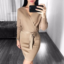2019 Spring Autumn Winter Womens Fashion Sexy Cross V-Neck Mini Dresses Female Batwing Long Sleeve Sash Knitted Sweater Dress