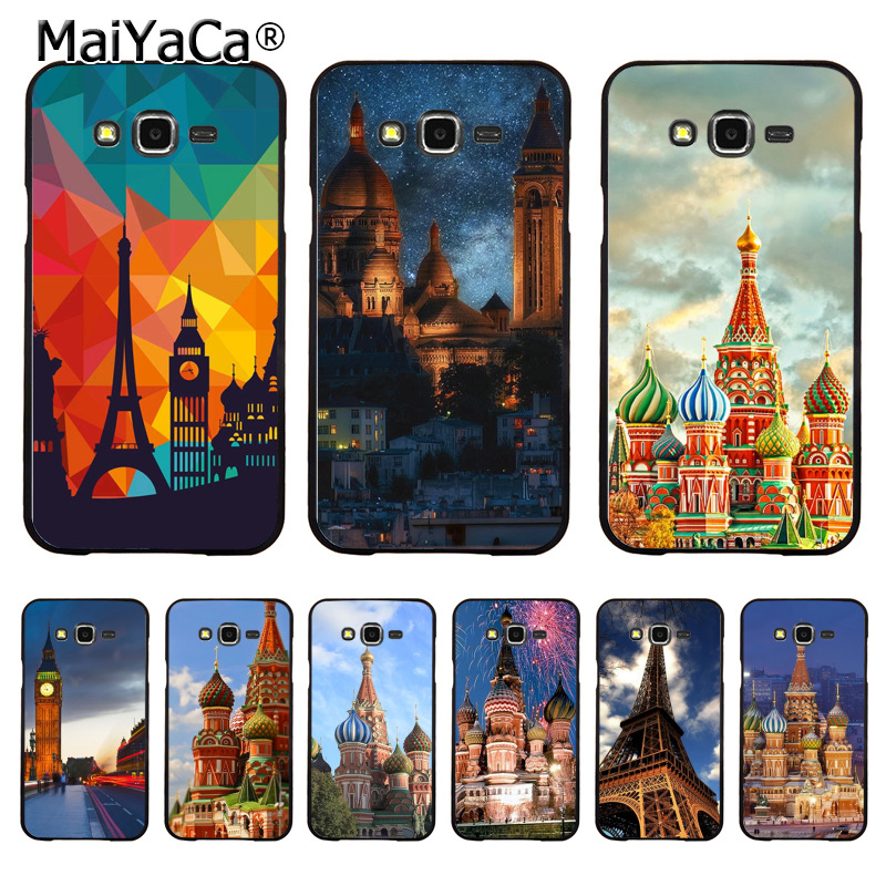 MaiYaCa CMoscow Kremlin Eiffel Tower Hot Printed Phone Accessories for samsung j7 j8 j6 j2pro a9 a6 a8 case coque