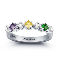 Best Gift Personalized 925 Ring DIY Love Promise Simple 925 Sterling Silver 12 Birthstone Colorful Ring