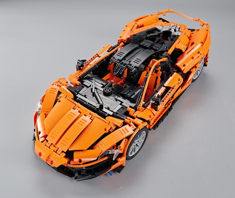 13090 LEGOING Technic The MOC16915 P1 Orange Racing Car McLarened Model Kit Building Blocks Hypercar Set Children Toys Fit 20087