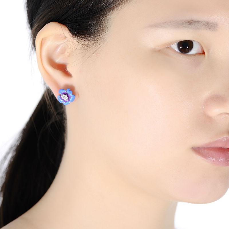 Image 5 - SANTUZZA Silver Earrings For Women 925 Sterling Silver Stud Flower Earrings Blue Flower Cubic Zirconia brincos Jewelry enamel-in Stud Earrings from Jewelry & Accessories