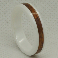 Natural Shiny Brown Wood Inlayed On Slim 5mm White Scratch Proof Ceramic Ring