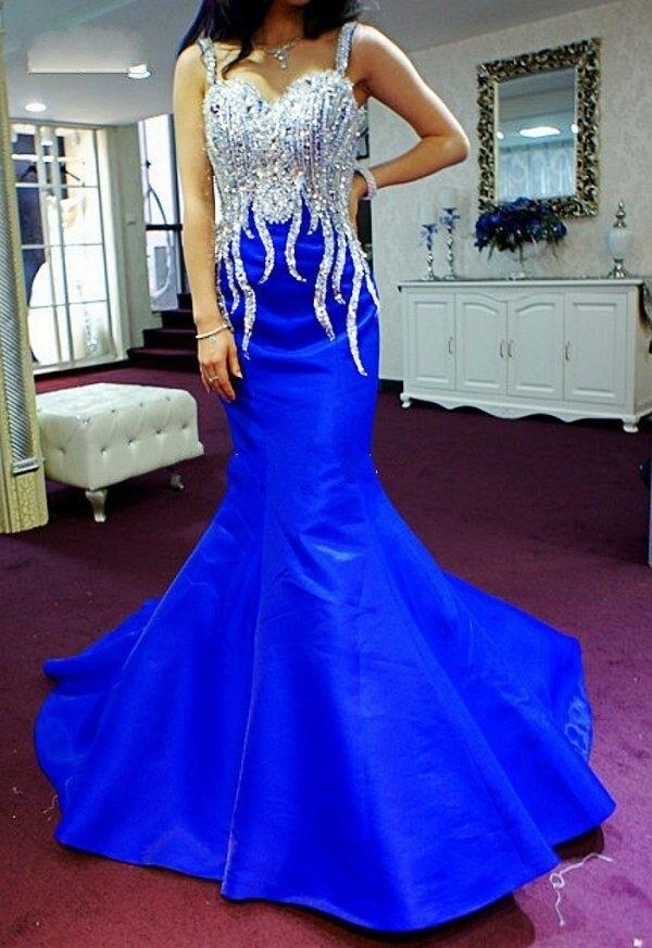 Обычный заказ красивые кристаллы бусины сердечком тонкая лямка королевский синий русалка пром платье / вечерние платья