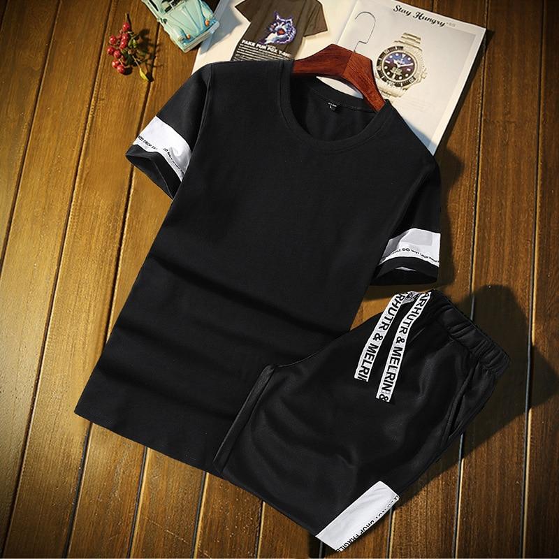Summer Short Sleeve Suit Men's Korean Version T-shirt Two-piece Suit