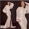 Fashion Spaghetti Strap Mermaid Long Evening Dresses with Cape Appliqued Long Sleeve Vestidos De Festa