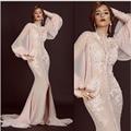 Moda Correa de Espagueti de la Sirena Vestidos de Noche Largos con Capa Apliques de Manga Larga Vestidos De Fiesta