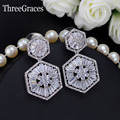 Europa mulheres rhombus forma elegante dangle gota cristal cz 925 jóias de prata micro pave cubic zircon brincos para as mulheres er326