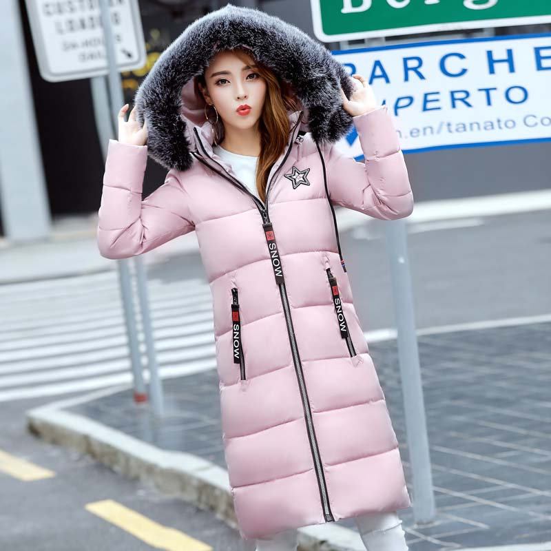2017 Top Fashion Full Womens Winter Jackets And Coats Winter New Women 's Cotton In The Long Section Of Hooded - Backed Jacket sky blue cloud removable hat in the long section of cotton clothing 2017 winter new woman
