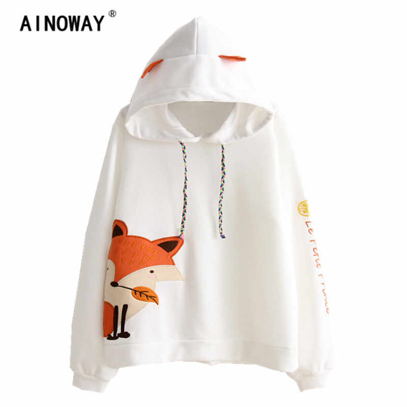Harajuku Autumn Fashion  Long Sleeve Crop Tops Women fox embroidery hooded Sweatshirts hoodies Patchwork  printed Pullovers