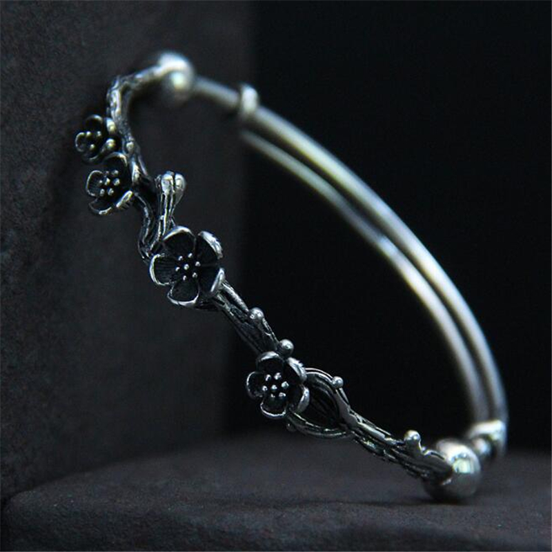 Real 925 Sterling Silver Bracelet Fashion Antique Jewelry Bracelet 3D Plum Flower Branches Jewelry Wholesale 8.9mm 15.90GReal 925 Sterling Silver Bracelet Fashion Antique Jewelry Bracelet 3D Plum Flower Branches Jewelry Wholesale 8.9mm 15.90G