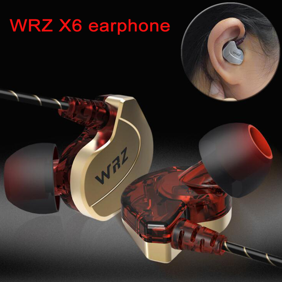 Newest 100% Original WRZ X6 Subwoofer In Ear Earphone Sports HIFI Bass DJ Earphones Headset with Mic for IPhone 7 7s xiaomi original xiaomi hybrid earphone units with mic remote in ear hifi earphones with mic circle iron mixed for xiaomi redmi mobile