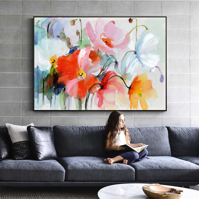 Aliexpress Com Comprar Pinturas Abstractas Acuarela Flores Pared