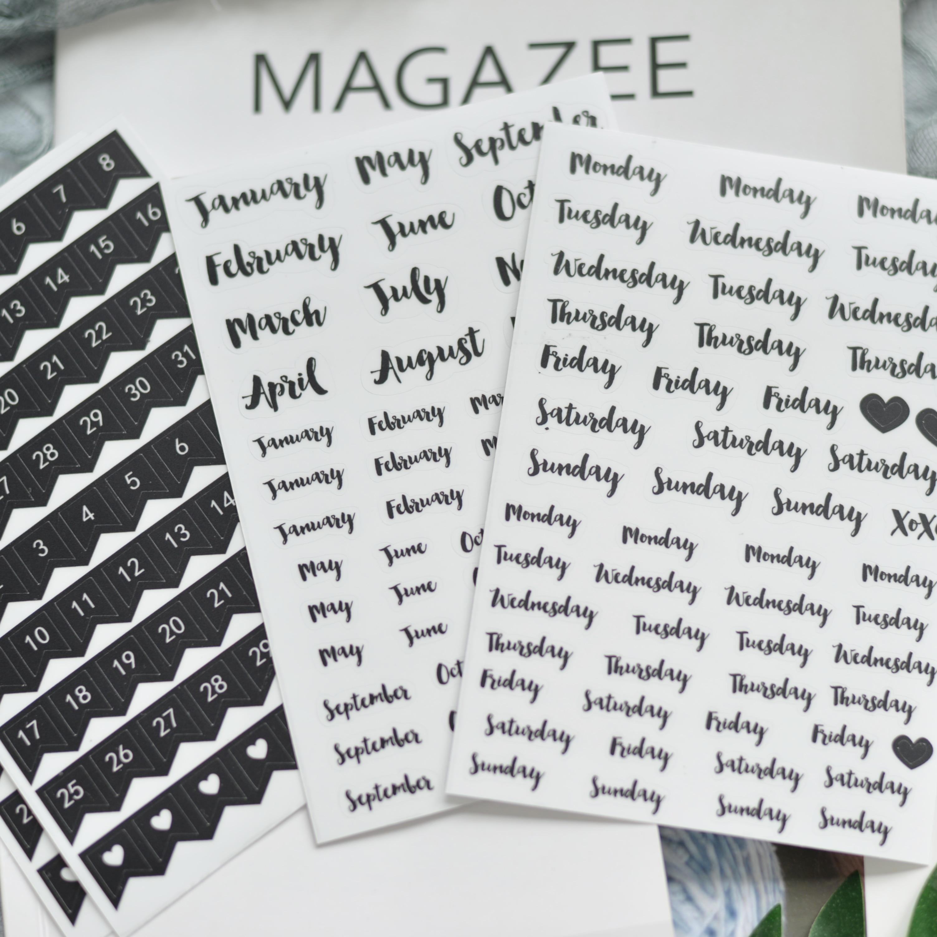 WOKO 8pcs Creative Black Basic Calendar Week Plan Date Number Retro Simple Monthly Deco Stickers DIY Scrapbooking Planner Photo