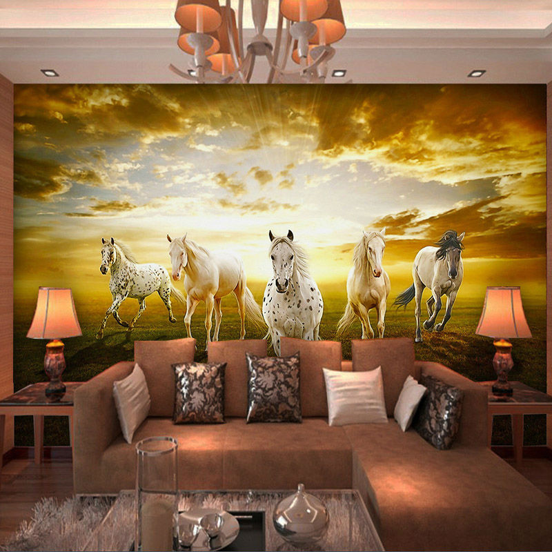 Charming Prairie Wallpaper Custom 3D Horses Photo wallpaper ...