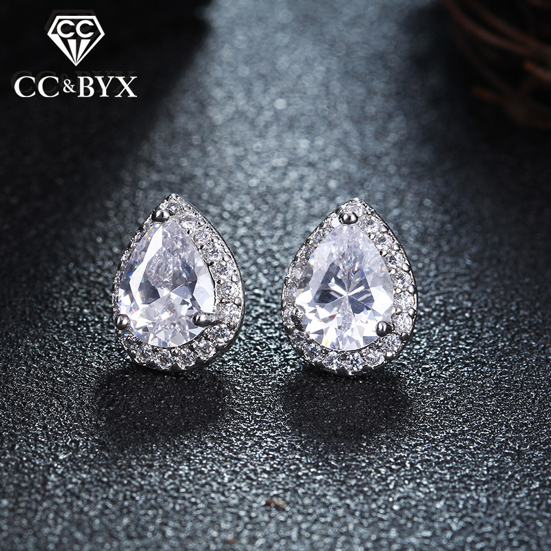White Gold Color Stud Earrings For Women Shine Water Drop Cubic Zirconia Fine Earring Brincos 925 Silver Fashion Jewelry E051