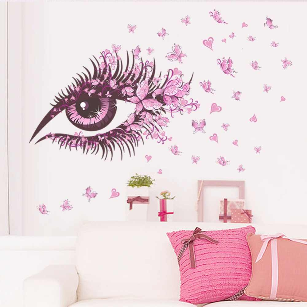Creative girl room eyelash butterfly decoration wall stickers painting beautiful pink eye living room background diy decals
