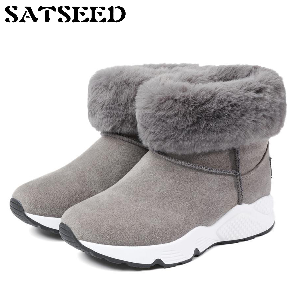 Female Fur Women Winter Boots Waterproof Snow Boots Boots Warm Ankle Non-slip Students Flat with Platform Fashion New snow fur slip on fashion round toe winter boots women ankle flat shoes celebrity gray bow booties chinese female short new