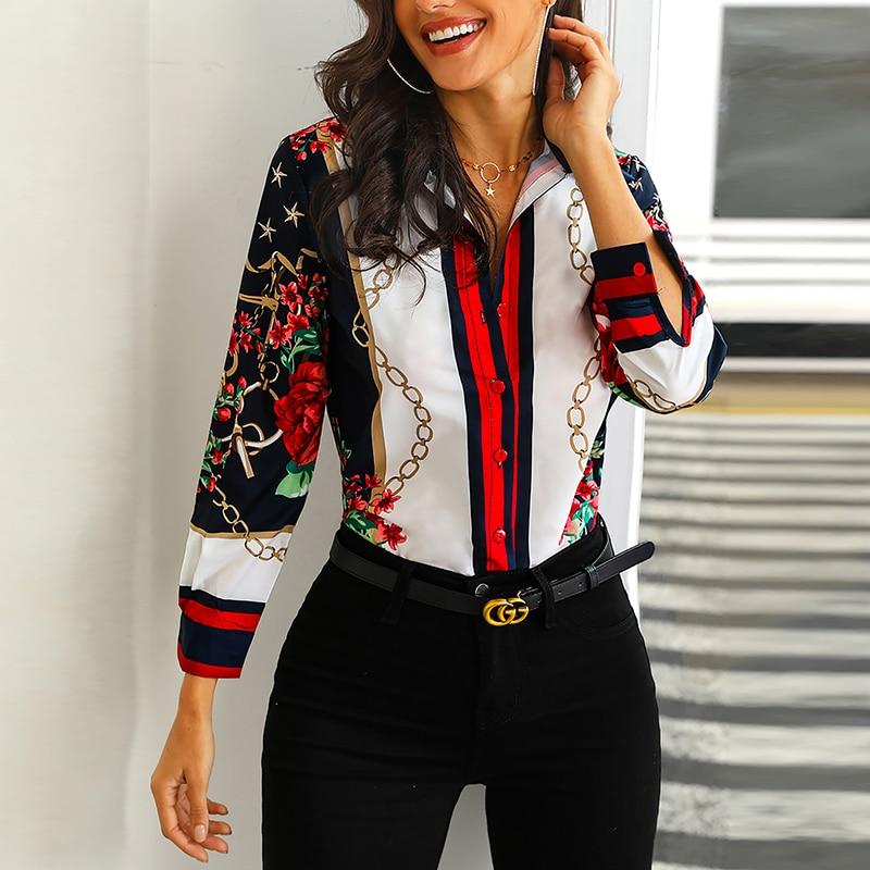 97a3b86a Blusa elegante con estampado de cadena Floral para mujer camisa de oficina  de manga larga cuello vuelto botón camisa Streetwear 2019 primavera