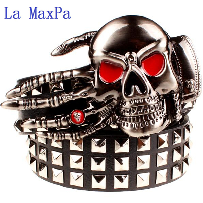 Fashion Men's Rivet Belt Punk Rock Belt Skull Head Ghost Claw Heavy Metal Wide Belts Hip Hop Big Rivet Belt Women Gift