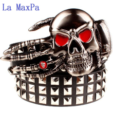 купить Fashion men's rivet belt Punk rock belt skull head ghost claw heavy metal wide belts hip hop big rivet belt women Gift по цене 828.25 рублей