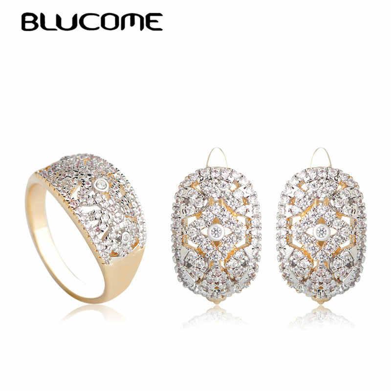 Blucome แฟชั่นเครื่องประดับชุดเจ้าสาว Full สีขาว Zircons Stud ต่างหูแหวน D ตะขอทองสีหมุดทองแดงทองแดงอุปกรณ์เสริม