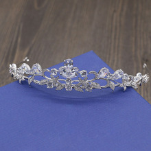 Fashion elegant flower Paved Crown Cubic Zircon Princess Tiaras Wedding bride banquet dinner dressing Hair Jewelry free shipping