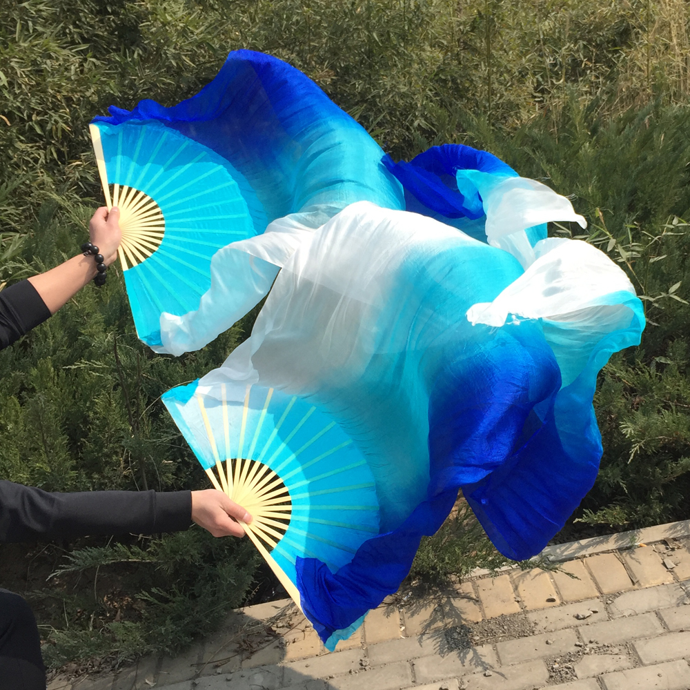 Ny Ankomst Vertikal farvet farve 100% Real Silk belly dancing Fan Veils mode 3 farver farvet mave dance Silk Veil Fans