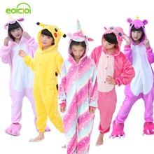 Купить с кэшбэком EOICIOI Flannel Children Pajamas Set Winter Hooded Animal Unicorn Pikachu Stitch Kids Pajamas For Boys Girls Sleepwear Onesies
