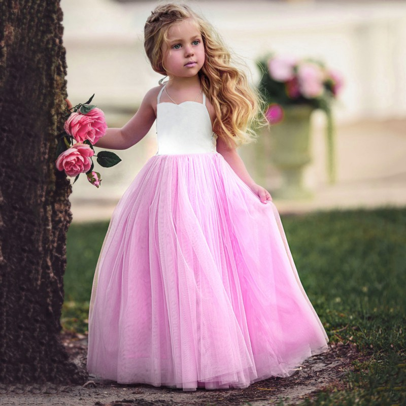 Baby Flower Girl Wedding Dress Fluffy Ball Gown Birthday  Tutu Dress Summer New Kids Girls Tulle Dresses silver gray purple pink blue ball gown tutu soft tulle puffy flower girl dress baby 1 year birthday dress with spaghetti straps