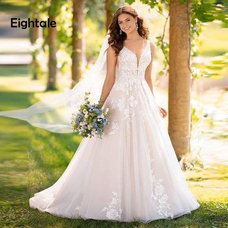Eightale Princess Wedding dress Boho V Neck Appliques Wedding Gowns A Line Vintage Backless Lace Bride