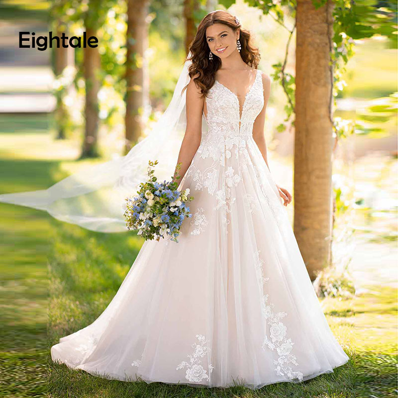Eightale Princess Wedding Dress Boho V Neck Appliques