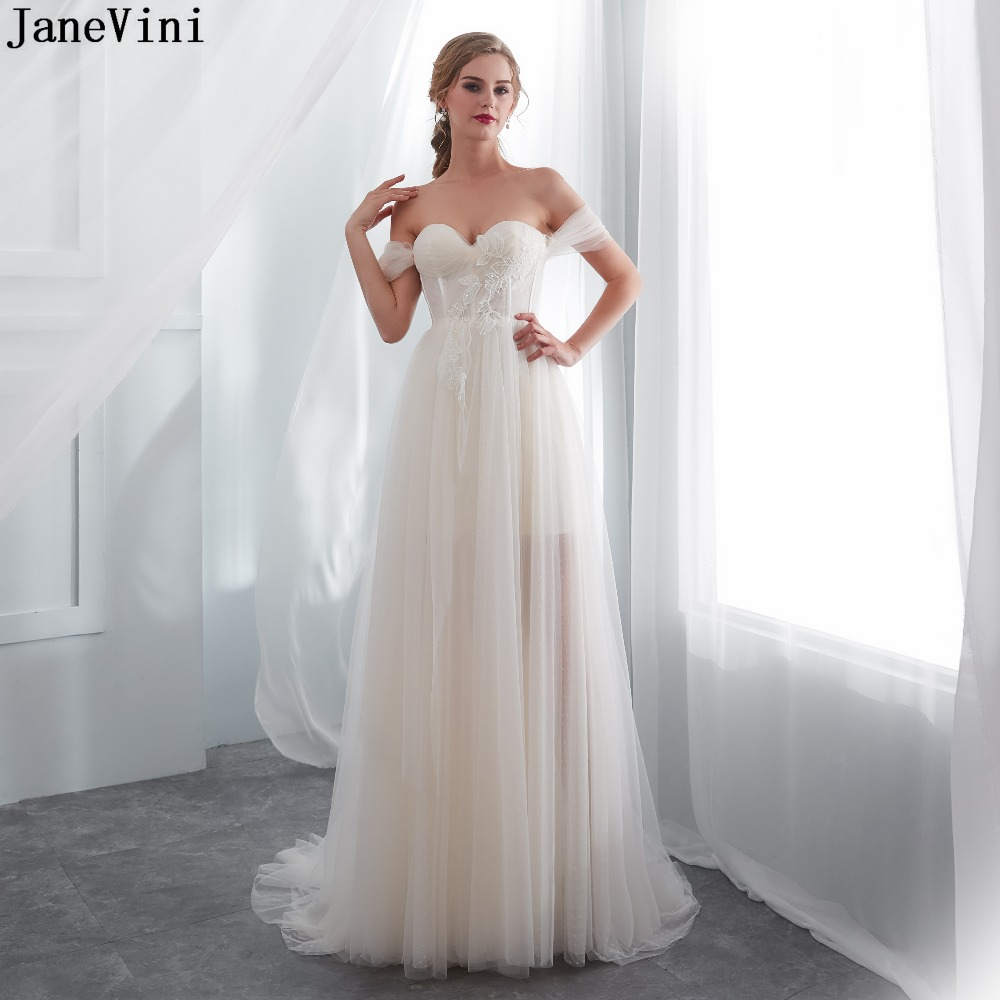 JaneVini Charming Lace Champagne A Line Long   Bridesmaid     Dresses   Strapless Appliques Sequined Backless Women Formal Prom Gowns