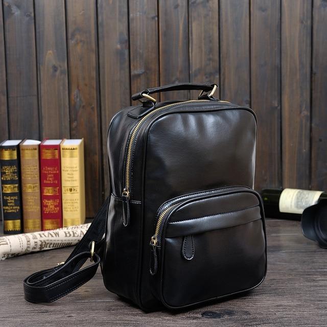 76f88f02cf63 Small daypack Black Travel Laptop Backpack mochila Men s Leather Backpack  Schoolbag Popular Leather Backpack men