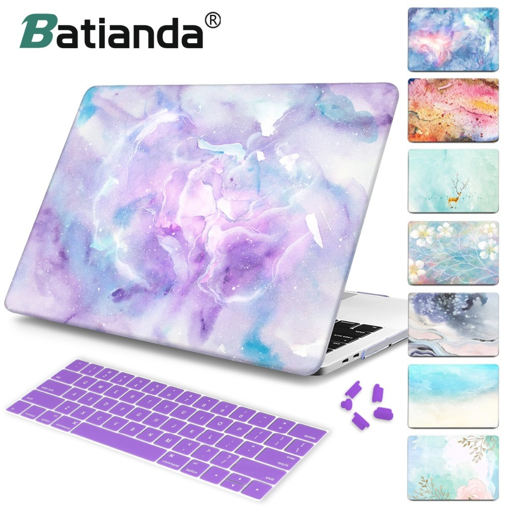 Oil Painting Case For Macbook Air Pro Retina 12 13 15 laptop bag for Macbook Air 11 13 A1466 Case Cover With keyboard Cover Skin