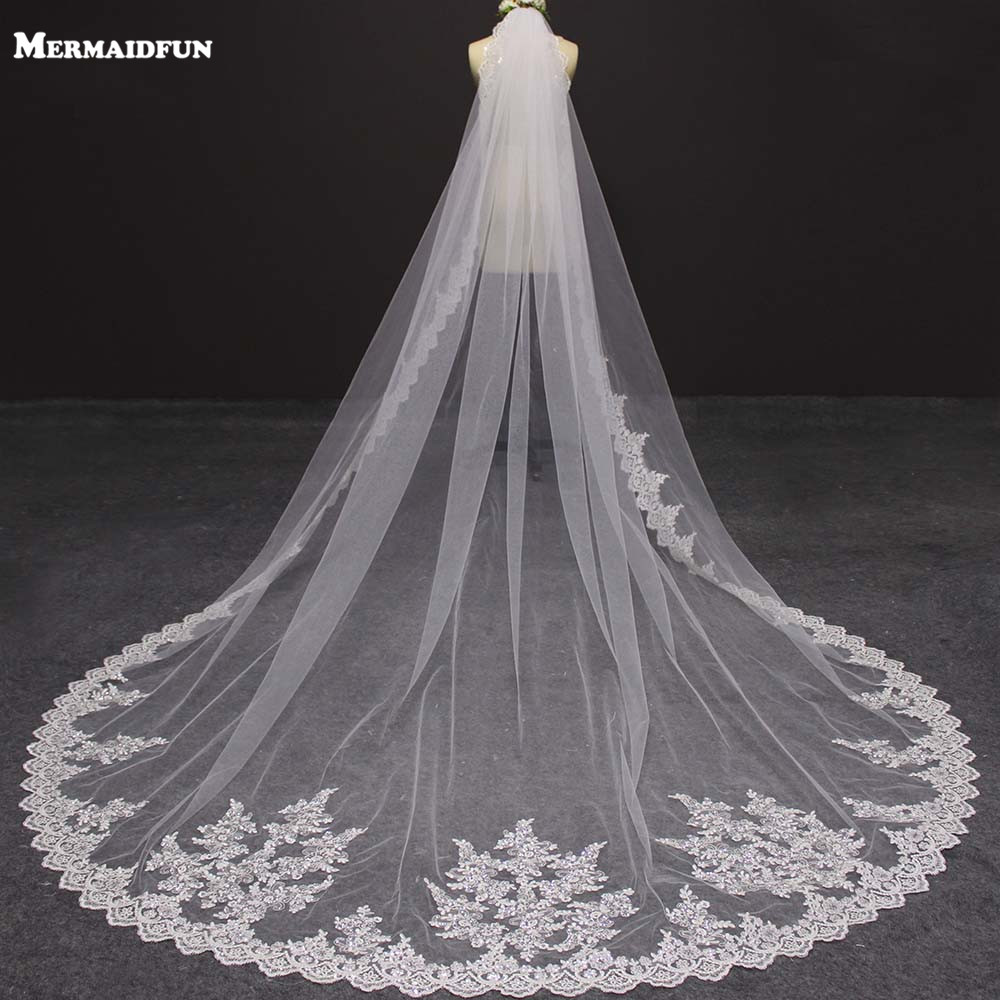 Real Photo Bling Sequins Lace Edge 3 Meters Long Wedding Veil With Comb Luxury Cathedral Length White Ivory Bridal Veil