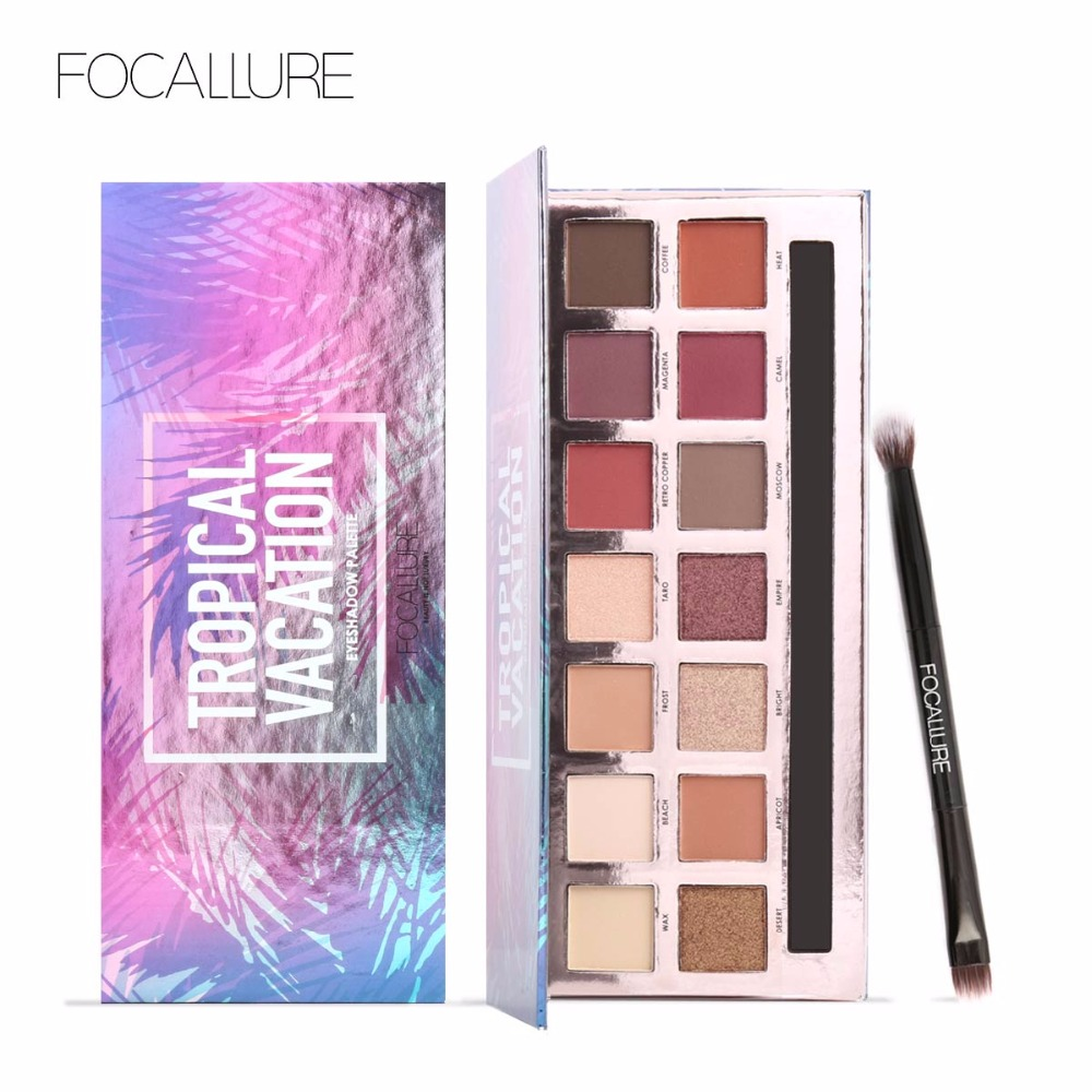 Focallure 2017 Hot products Eye Shadow Palette Set Shimmer Matte colorful Eye Makeup Glitter Radiant 14 Colors Long-lasting Natu