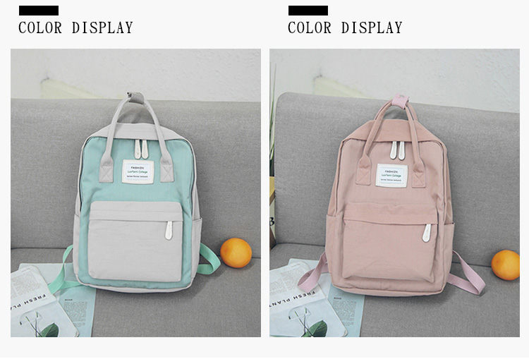HTB17UiKsXGWBuNjy0Fbq6z4sXXad - Women Hot Canvas Backpacks Candy Color Waterproof  School Bags for Teenagers Girls Laptop Backpacks Patchwork Backpack New