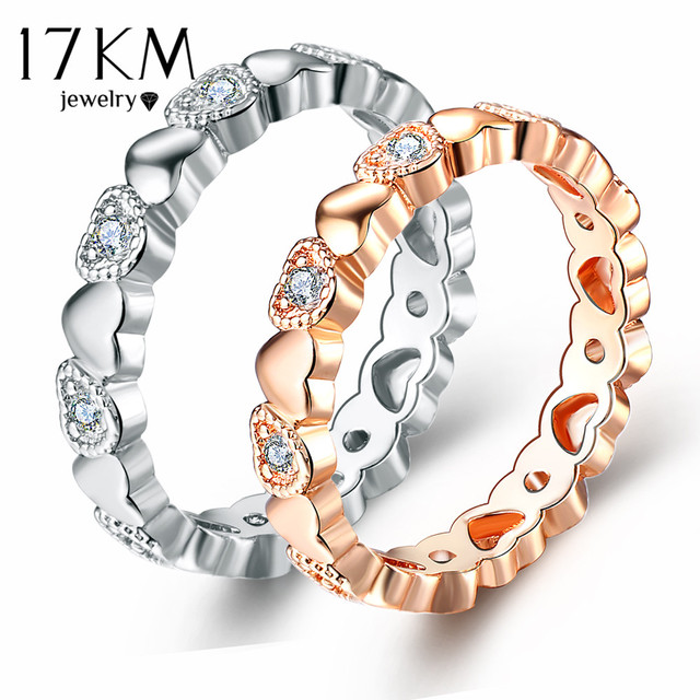 17KM Female Endless Love Heart Rings for Women Lover 2 Color Fashion Engagement