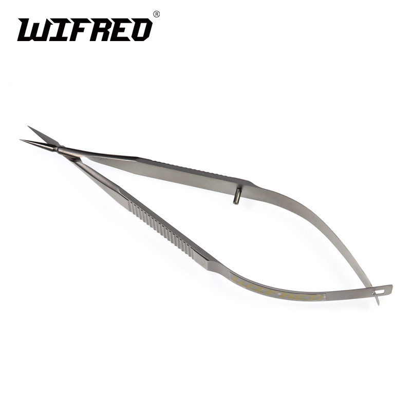 Wifreo 11cm 1 Stainless Micro Tip Fly Tying Scissors Sharp & Small Trimming Scissors for Fly Fishing Nymph Dry Fly Streamer wifreo 10pcs 6 fly fishing insect black orange egg sucking leech wooly streamer fly trout fly fishing baits marabou flashabou