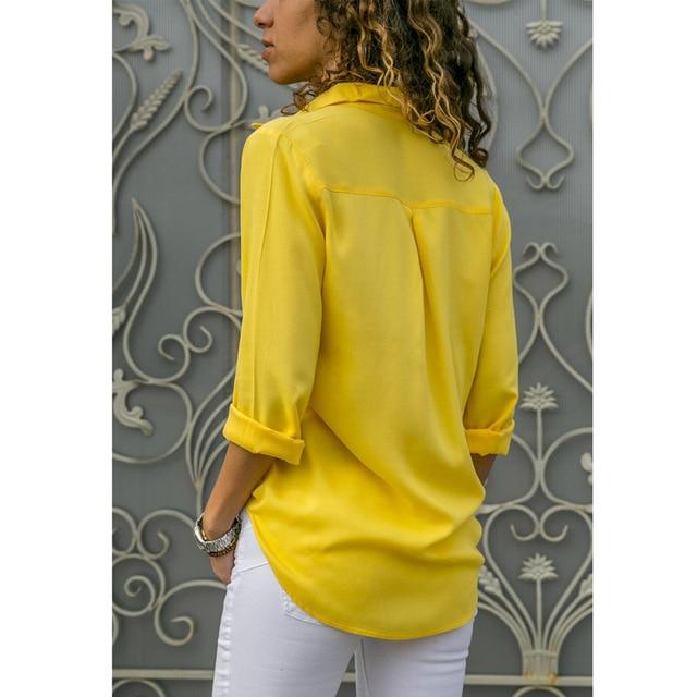 Soild Women Shirt 2019 Spring Autumn Casual Chiffon Blouse Long Sleeve Deep V Neck Button Office Work Wears Top Plus Size S-XXXL 6