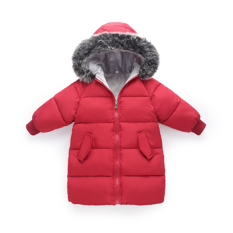 Rlyaeiz Baby Gilrs Coat 2018 Winter Jacket For Girls Fashion Printed Kids Mid-long Fur Collar Hooded Warm Down Cotton Parka Coat gkfnmt winter jacket women 2017 fur collar hooded parka coat women cotton padded thicken warm long jacket female plus size 5xl