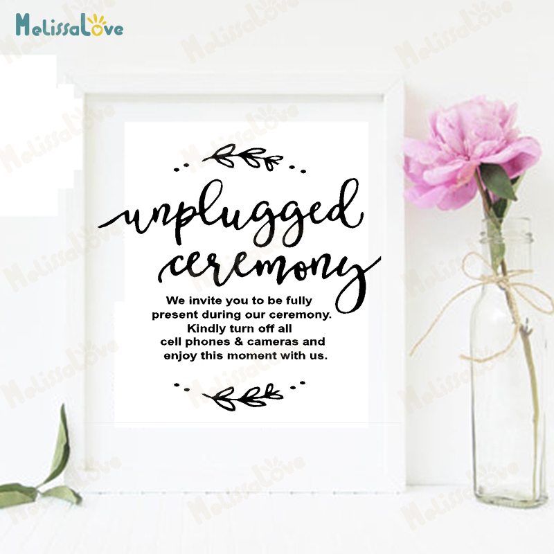 Unplugged Ceremony Quotations Stickers Wedding Reception